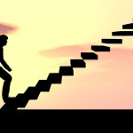 Concept conceptual 3D male businessman on stair or steps over su